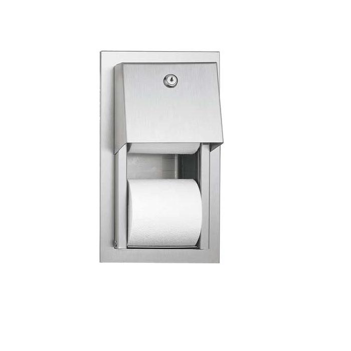 ASI 0031 SemiRecessed Dual Roll Toilet Tissue Dispenser Satin