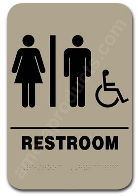 Restroom sign handicap unisex taupe 2306 ep 2306 for Unisex handicap bathroom sign