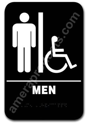 Restroom Sign Handicap Men Black 5302 Ep 5302