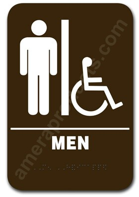 Bathroom Sign Handicap restroom sign handicap mens brown 3802 #ep-3802