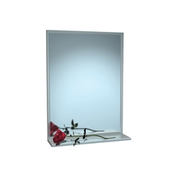 Stainless Steel Frame Mirror with Shelf