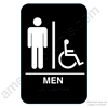 California Approved Men Handicap ADA Restroom Sign -Black