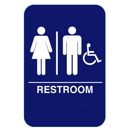 California approved unisex handicap ada restroom sign cr for Unisex handicap bathroom sign