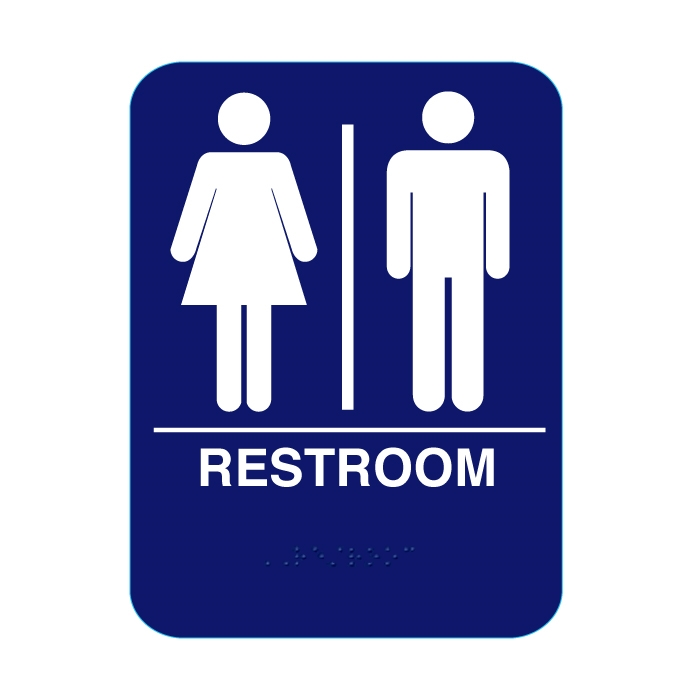 Bathroom Signs Braille unisex restroom sign with braille blue rs68 #cr-rs68