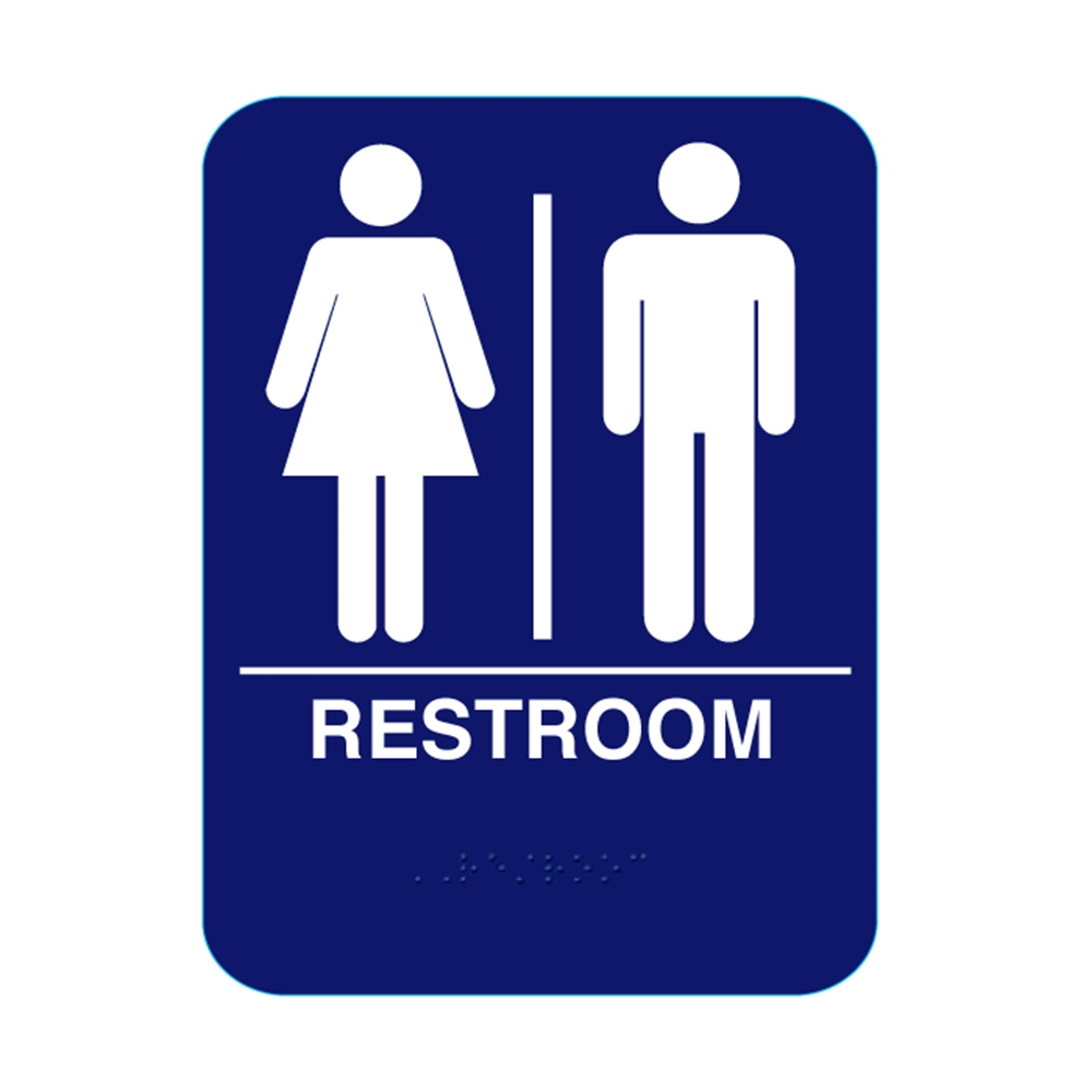 Unisex Restroom Sign With Braille Blue RS68 #CR-RS68