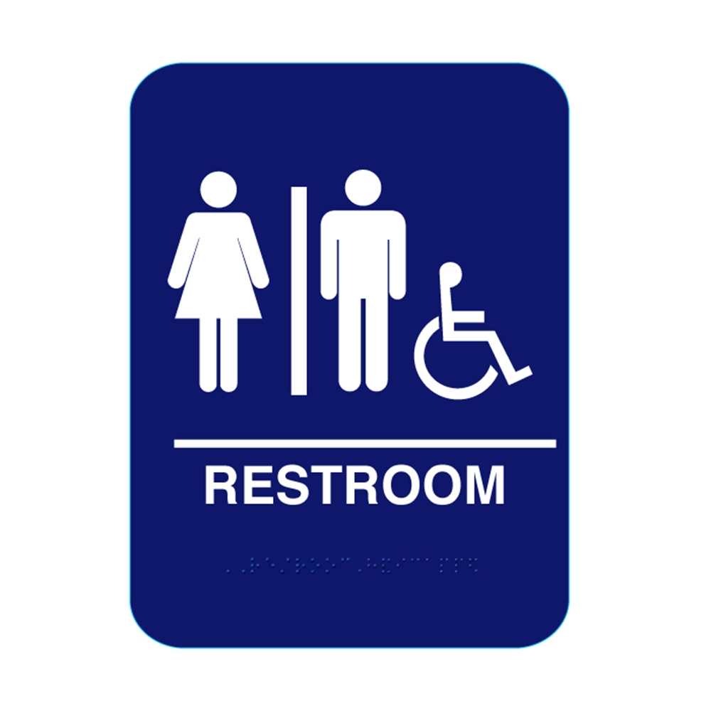 Unisex handicap restroom with braille blue cr rsh68 for Unisex handicap bathroom sign