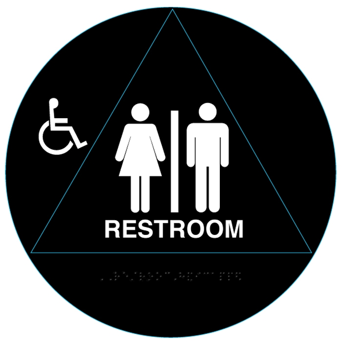 Raised handicap unisex ada restroom signs and bathroom for Unisex handicap bathroom sign