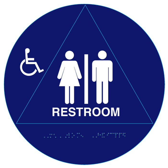 12 circular raised handicap unisex ada restroom signs and for Unisex handicap bathroom sign