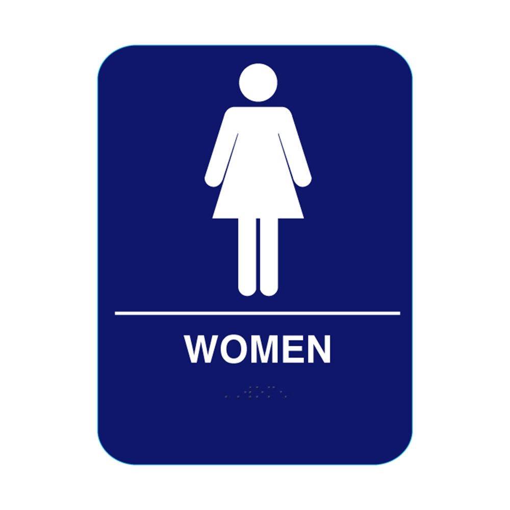 Women restroom sign with braille blue cr w68 for Women s bathroom sign