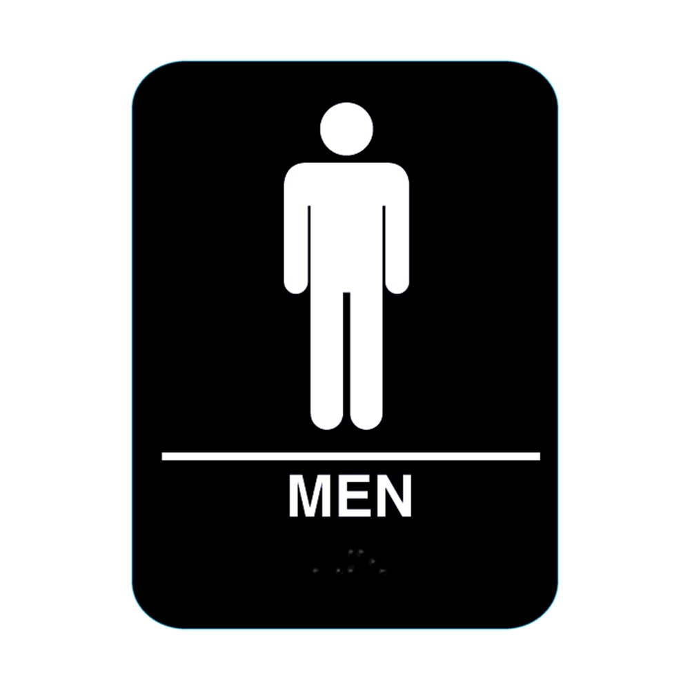 Men restroom sign with braille black cr m68 bl biocorpaavc Choice Image