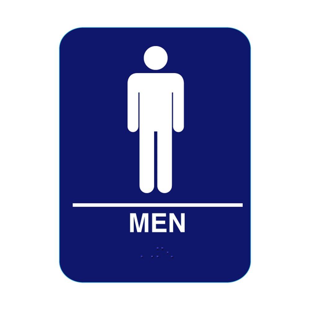 Men Restroom Sign With Braille Blue Cr M68