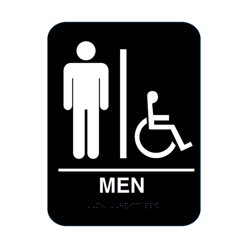 Restroom signs ada compliant braille multiple colors mens handicap restroom sign biocorpaavc