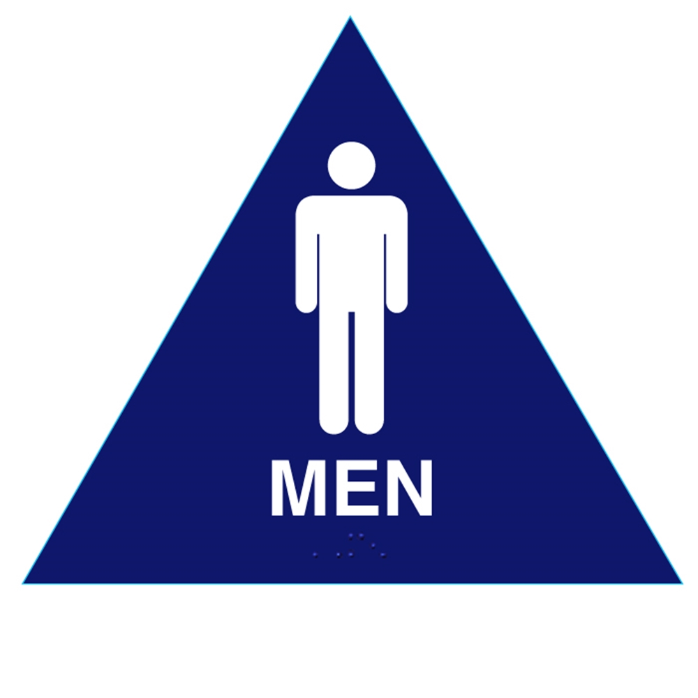 Raised Men Sign California Title 24 Ada Restroom Sign Blue