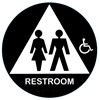 California Approved Raised Handicap Unisex Title 24 ADA Restroom Sign - Black