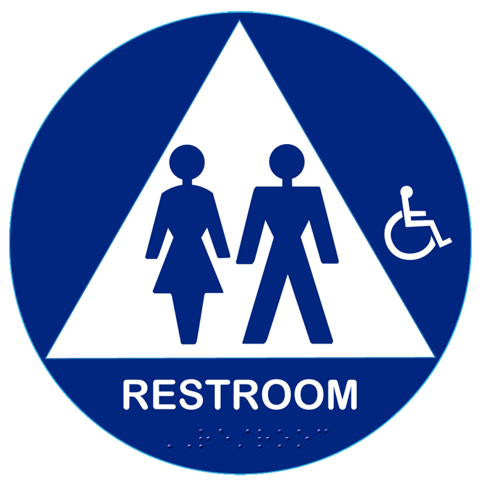 California approved raised handicap unisex title 24 ada for Unisex handicap bathroom sign