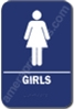 "Restroom Girls Sign Blue 1516 Girls Restroom Sign  ADA sign 6"" x 9"" with braille white on blue."