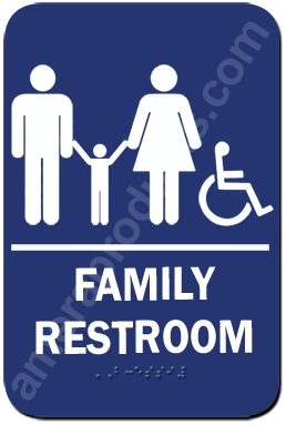Restroom Sign Family Handicap Blue 1536 Ep 1536
