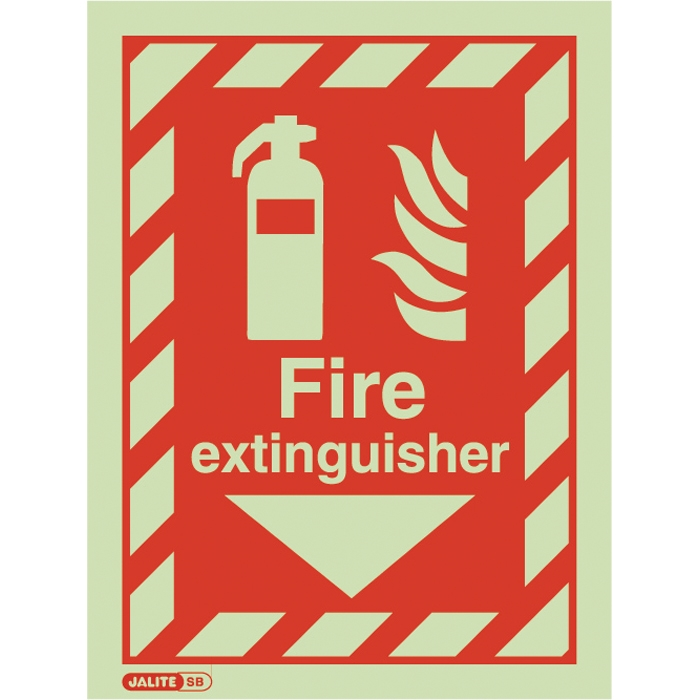 "Jalite Self Adhesive Vinyl Photoluminescent ""Fire Extinguisher"" ID Sign JAL-SBV6043D"