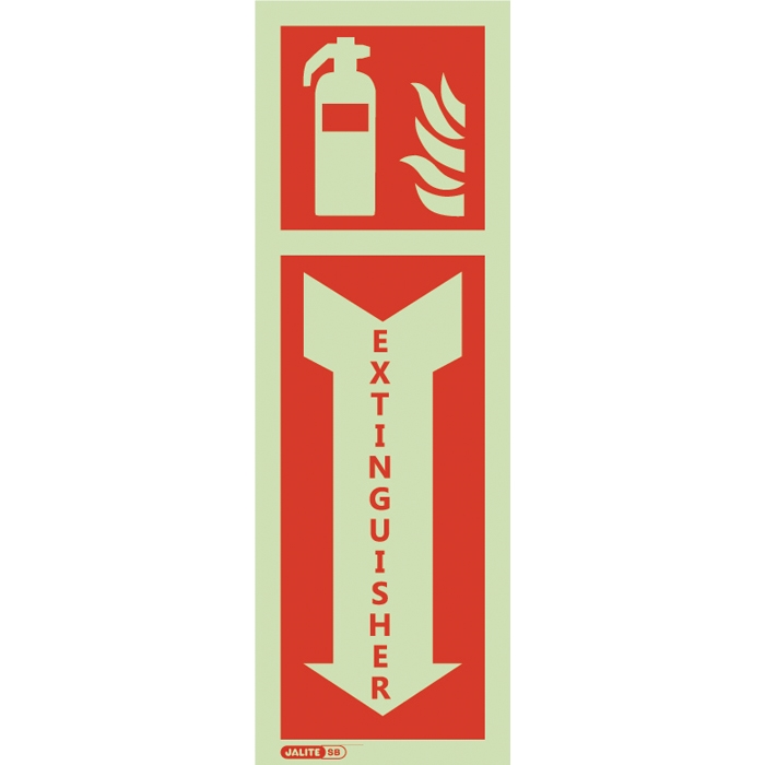 "Jalite Self Adhesive Vinyl Photoluminescent ""Fire Extinguisher"" ID Sign with Symbol & Arrow JAL-SBV6047PT"