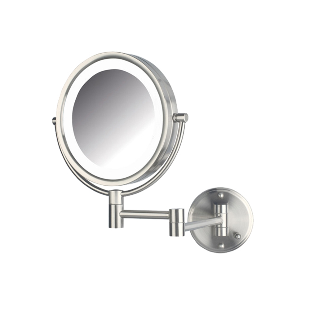 Wall mounted makeup mirror square 3x in wall mirrors - Hl88nld Led Wall Mirror Nickel Hard Wire