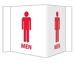 Visi-Signs™ 3D Mens Restroom Sign VS15W