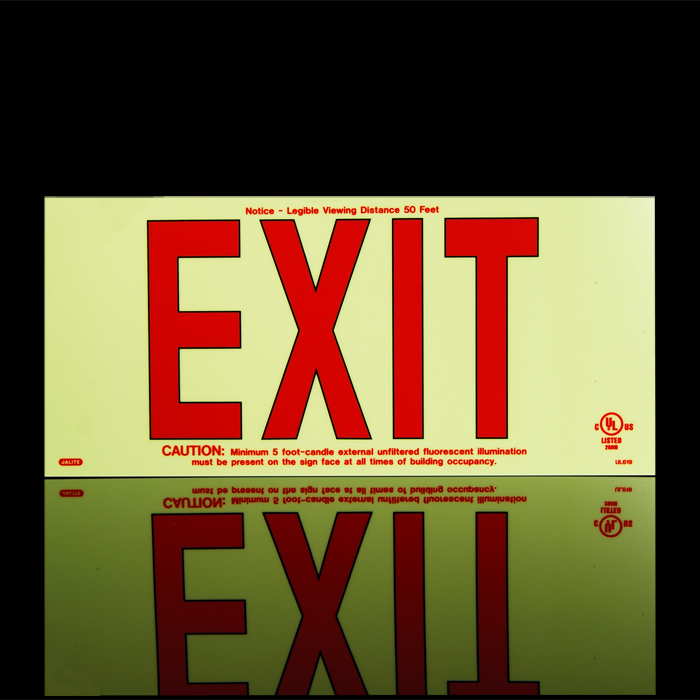 Jalite Ul619 Photoluminescent Exit Sign Red Lettering Jal