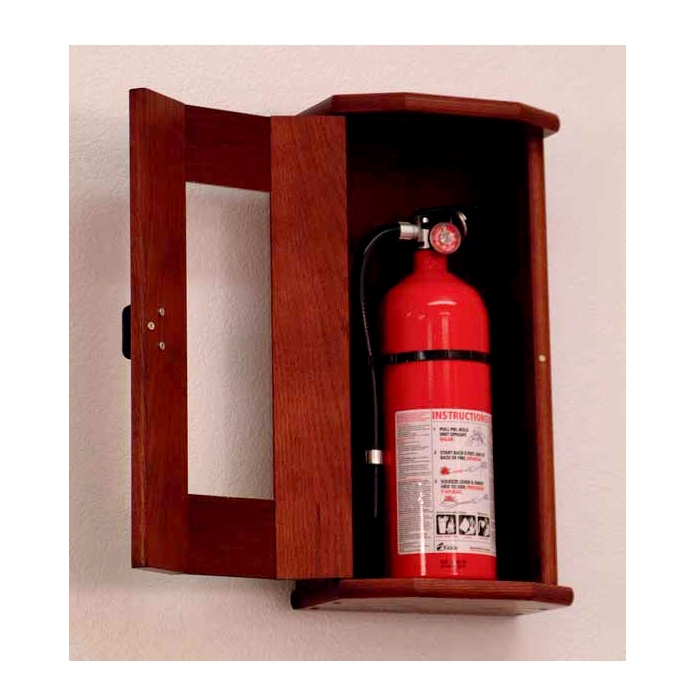 Oak Fire Extinguisher Cabinet With Acrylic Front Panel