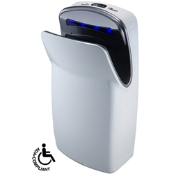 World Dryer VMax High-Speed Vertical Automatic Hand Dryer Available in two finishes: White and Silver, Extremely fast 10–12 seconds drying time, Surface mounted