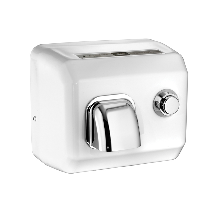 DR Series Steel Push Button White Enamel Hand Dryers