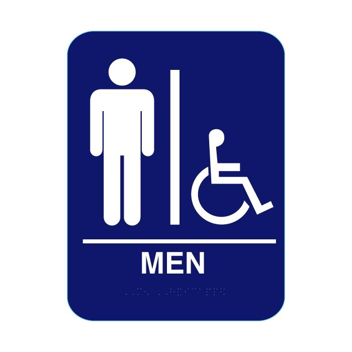 Men Handicap Restroom Sign With Braille Blue Cr Mh68