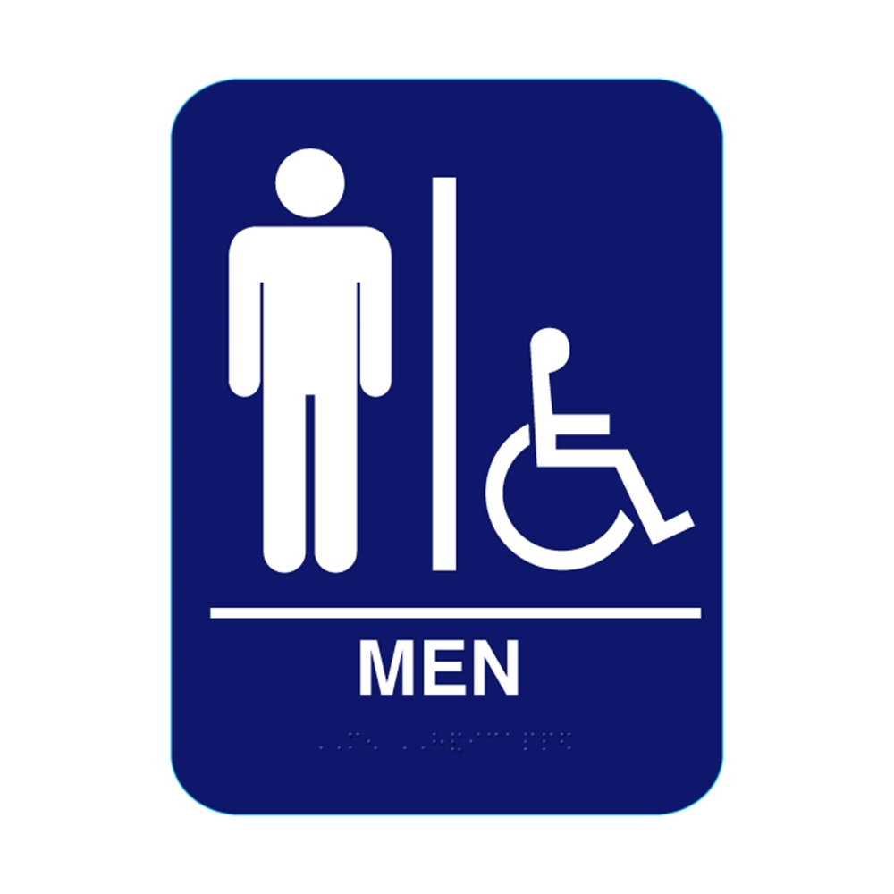 Men Handicap Restroom Sign With Braille Blue CRMH - Handicap bathroom sign