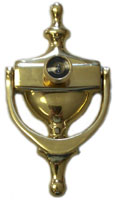 "6-7/8"" Solid Brass Door Knocker with 180° Door Viewer"