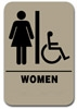 Restroom Sign Handicap Womens Taupe 2304 restroom sign handicap womens , womens restroom handicap sign, ADA womens restroom sign handicap