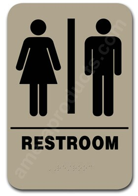 Restroom Sign Unisex Taupe 2305 Ep 2305