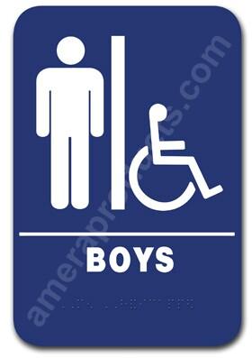 Restroom Sign Handicap Boys Sign Blue 1512 Ep 1512