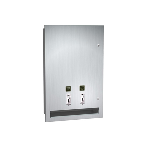 Semi-Recessed Sanitary Napkin/Tampon Dispenser