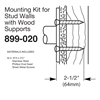 Bradley Exposed Mounting Kits for Stud Walls with Wood Supports - 899-020