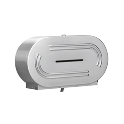 Bradley Twin Jumbo Roll Toilet Tissue Dispenser - Satin Finish