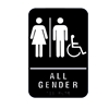 All Gender Restroom Signs with Man, Woman, Handicap Braille and Pictogram - Black
