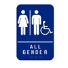 All Gender Restroom Signs with Man, Woman, Handicap Braille and Pictogram - Blue