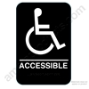 California Approved ADA Handicap Accessible Restroom Sign - Black