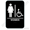 California Approved Women Handicap ADA Restroom Sign - Black