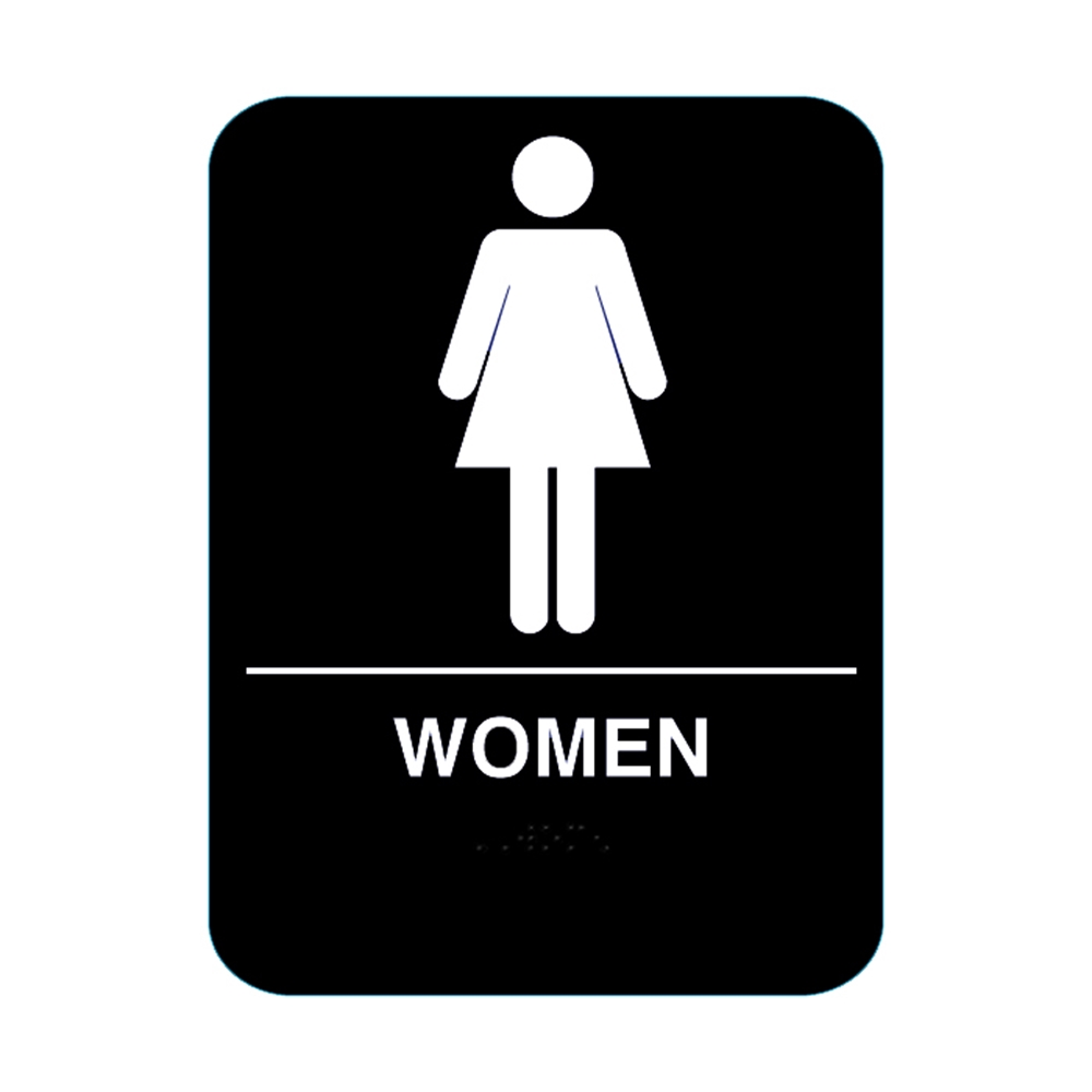 Women Restroom Sign With Braille Black Cr W68 Bl