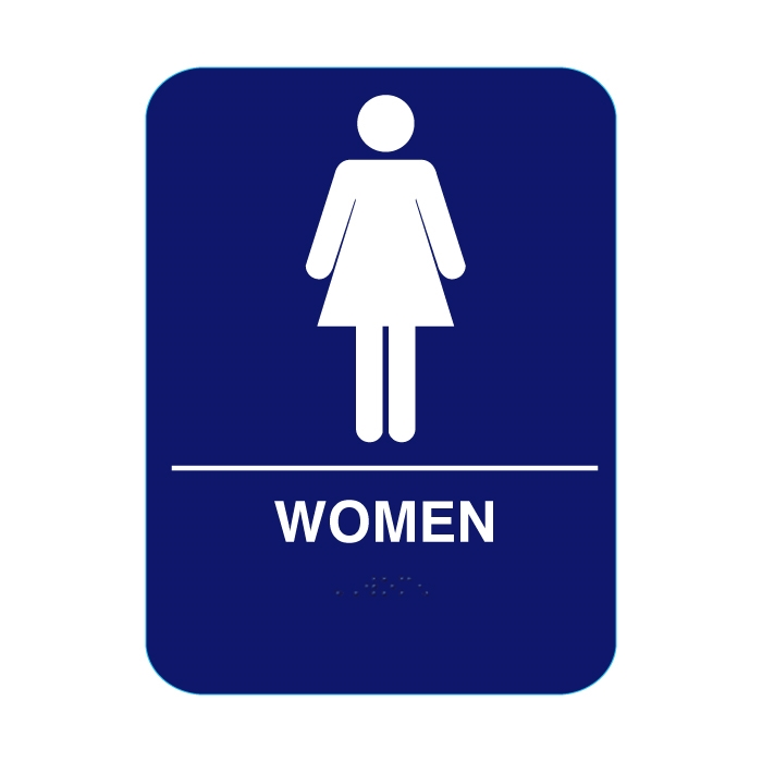 Women Restroom Sign With Braille Blue Cr W68