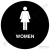 Raised Women California Title 24 ADA Restroom Sign Black