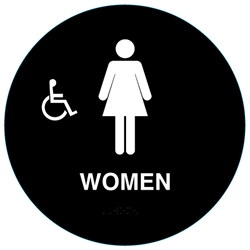 Handicap Womens California Restroom Sign