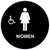 Raised Handicap Women California Title 24 ADA Restroom Sign - Black