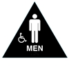 Raised Handicap Men California Title 24 ADA Restroom Sign Black