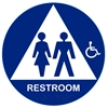 California Approved Raised Handicap Unisex Title 24 ADA Restroom Sign - Blue
