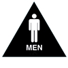 Raised Men California Title 24 Restroom Sign - Black